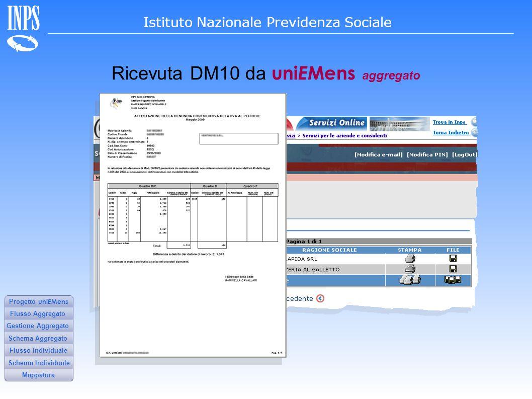 Ricevuta DM10 da uniEMens aggregato