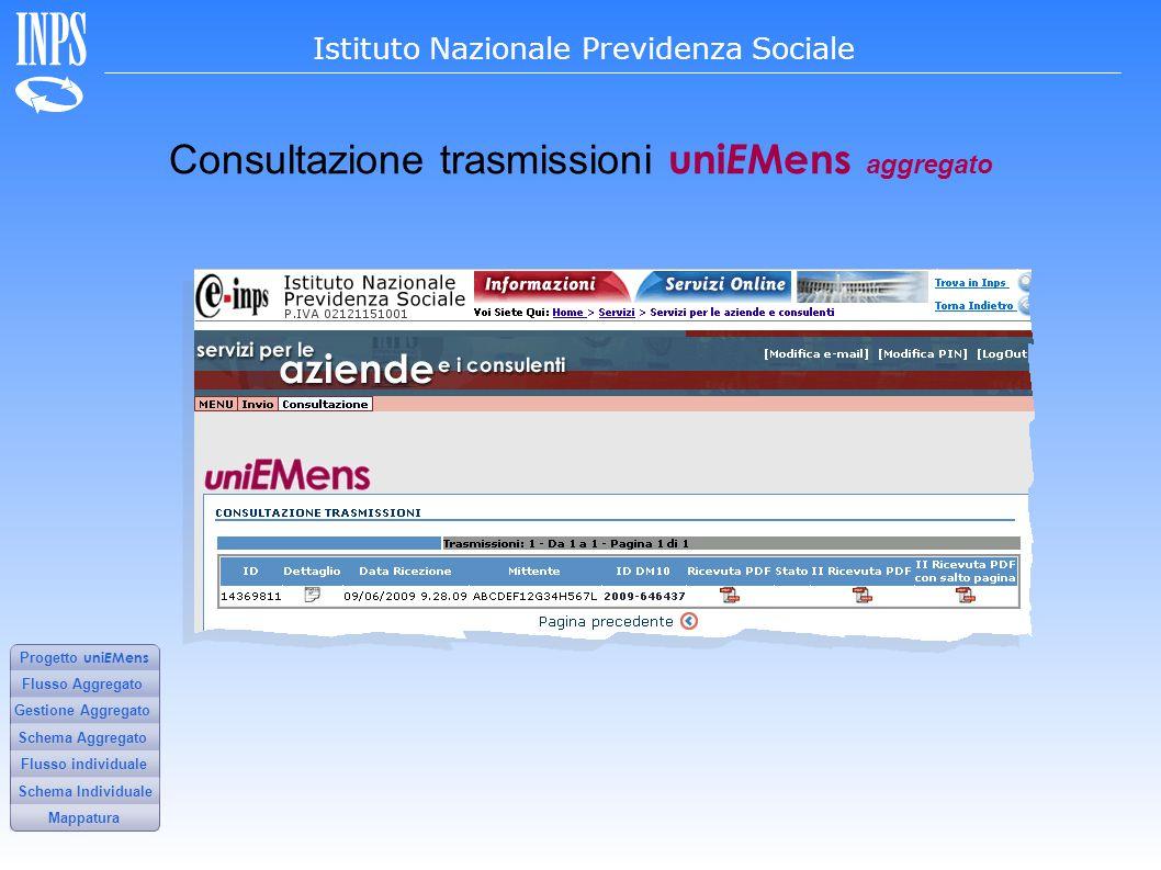 Consultazione trasmissioni uniEMens aggregato