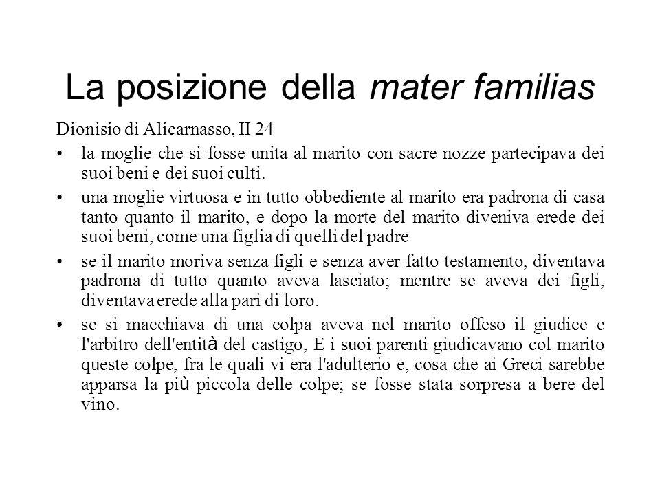 La posizione della mater familias