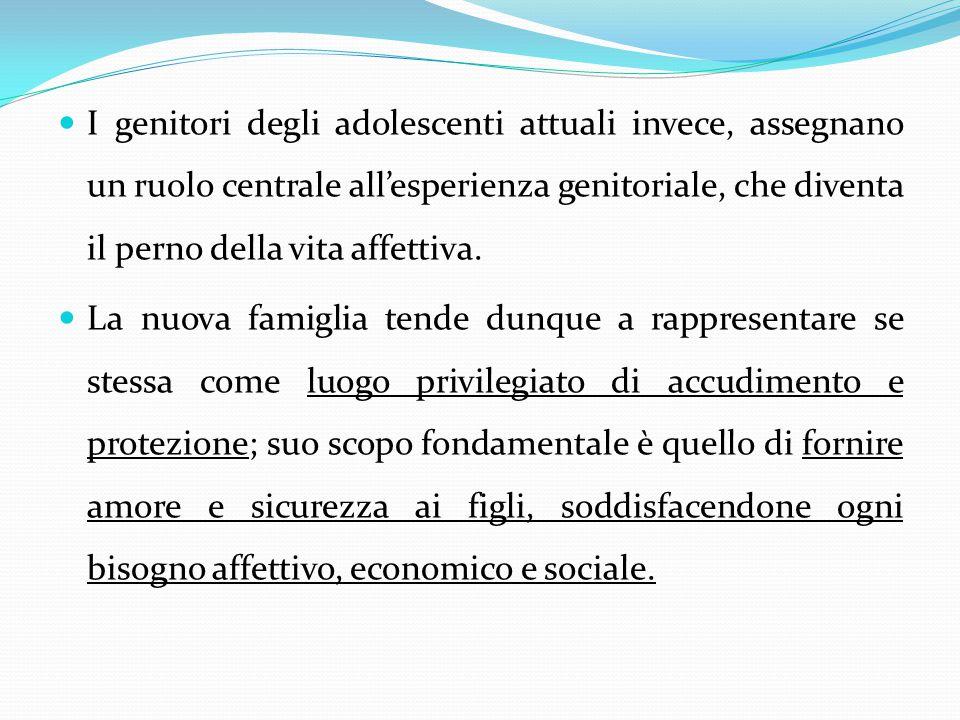 I genitori degli adolescenti attuali invece, assegnano un ruolo centrale all'esperienza genitoriale, che diventa il perno della vita affettiva.