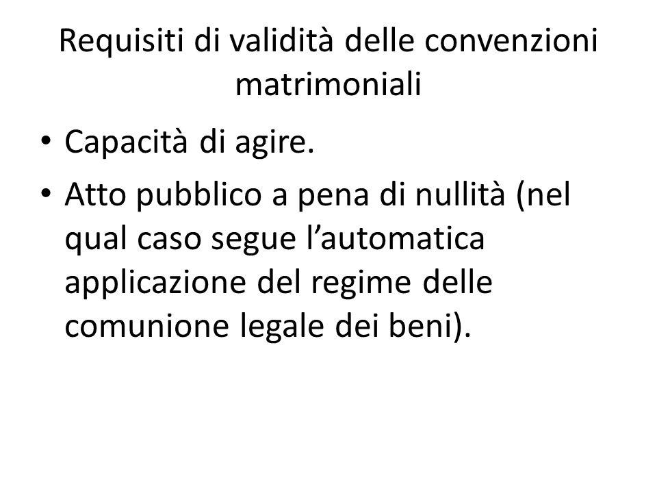 Requisiti di validità delle convenzioni matrimoniali