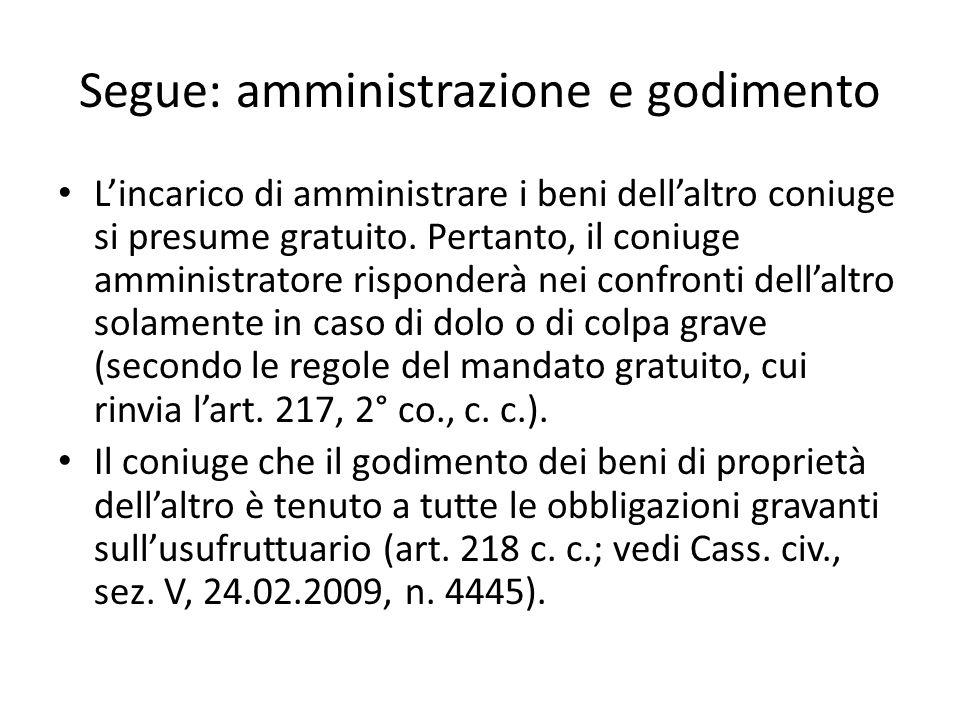 Segue: amministrazione e godimento