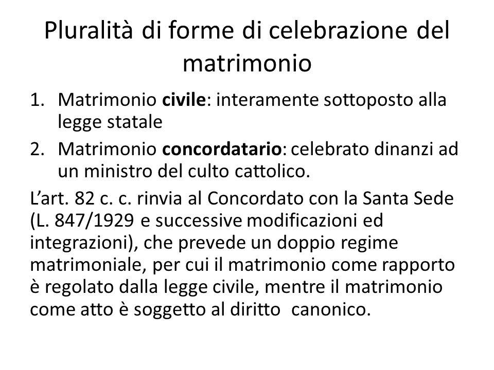 Pluralità di forme di celebrazione del matrimonio