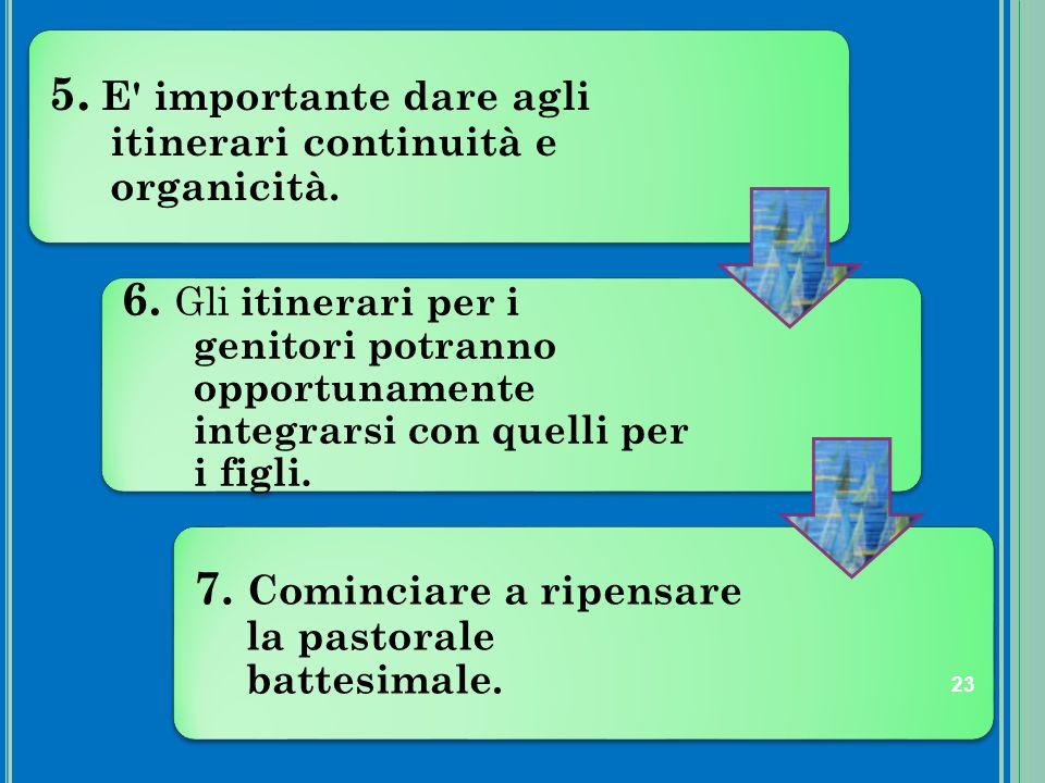 5. E importante dare agli itinerari continuità e organicità.