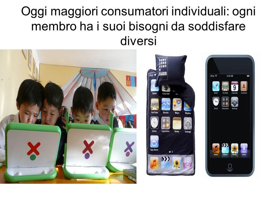 Oggi maggiori consumatori individuali: ogni membro ha i suoi bisogni da soddisfare diversi