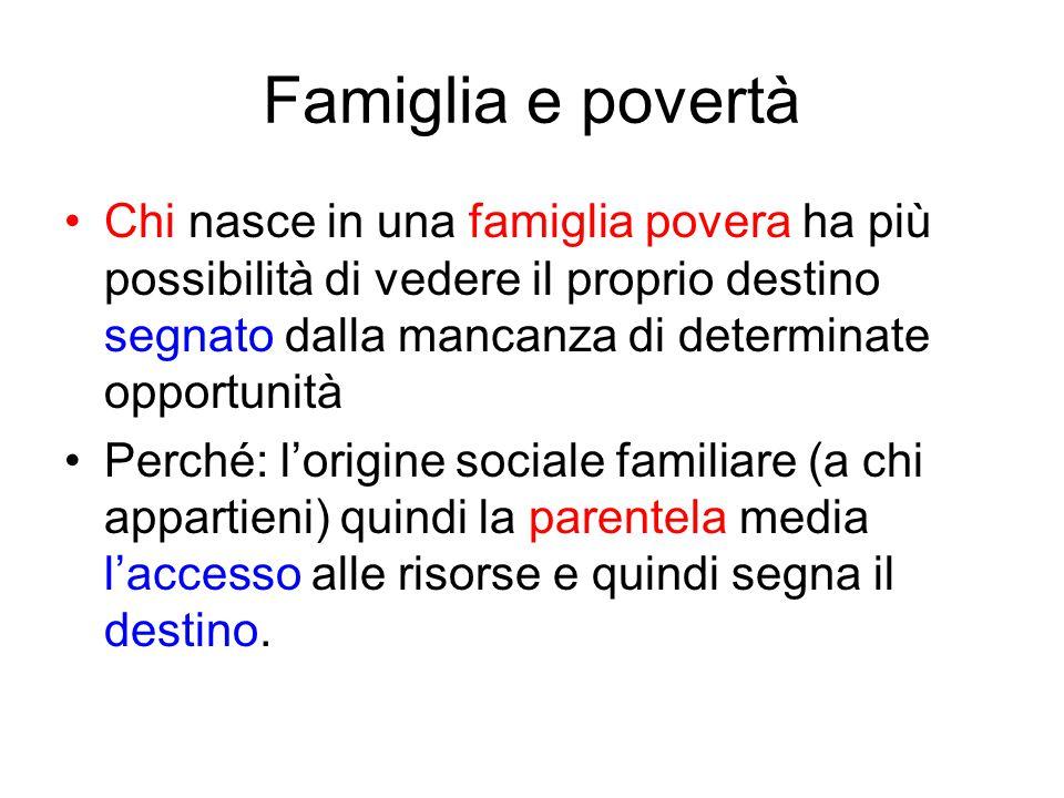 Famiglia e povertà Chi nasce in una famiglia povera ha più possibilità di vedere il proprio destino segnato dalla mancanza di determinate opportunità.