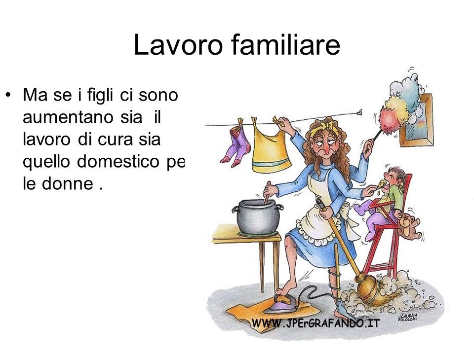 Lavoro familiare Ma se i figli ci sono aumentano sia il lavoro di cura sia quello domestico per le donne .
