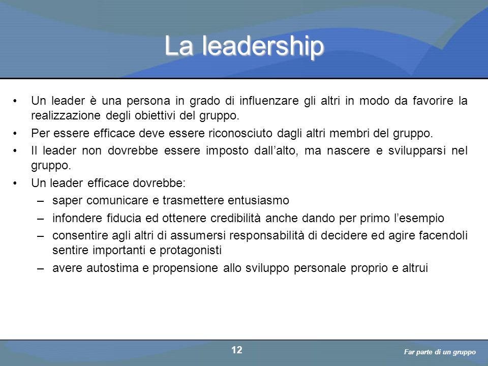 La leadership Un leader è una persona in grado di influenzare gli altri in modo da favorire la realizzazione degli obiettivi del gruppo.