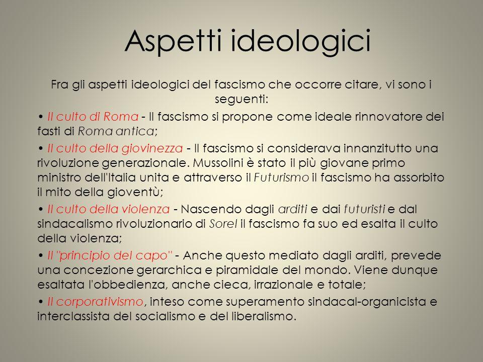 Aspetti ideologici Fra gli aspetti ideologici del fascismo che occorre citare, vi sono i seguenti: