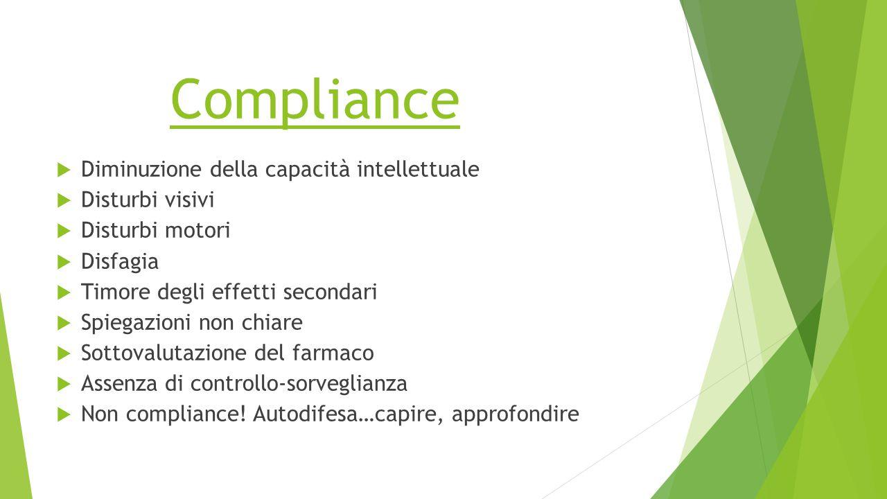 Compliance Diminuzione della capacità intellettuale Disturbi visivi