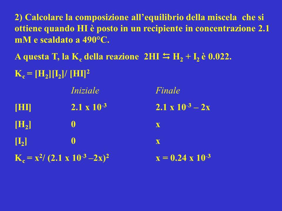 2) Calcolare la composizione all'equilibrio della miscela che si ottiene quando HI è posto in un recipiente in concentrazione 2.1 mM e scaldato a 490°C.