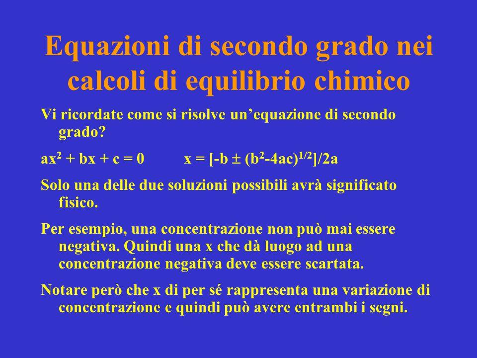 Equazioni di secondo grado nei calcoli di equilibrio chimico