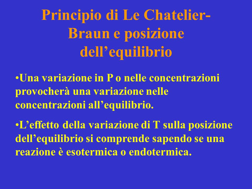 Principio di Le Chatelier-Braun e posizione dell'equilibrio