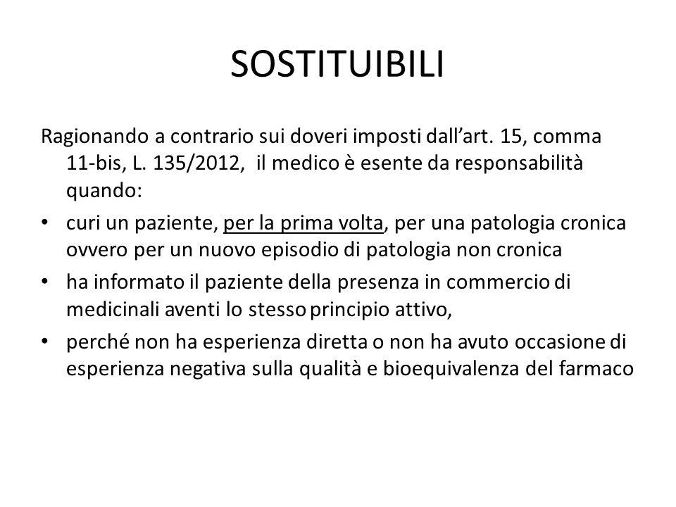 SOSTITUIBILI Ragionando a contrario sui doveri imposti dall'art. 15, comma 11-bis, L. 135/2012, il medico è esente da responsabilità quando: