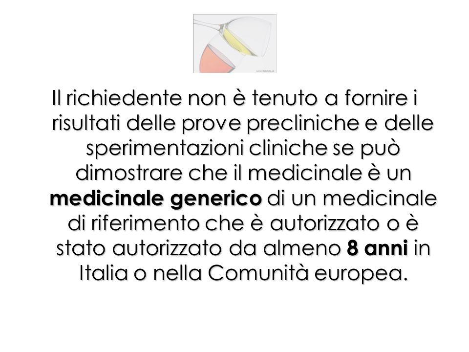 Il richiedente non è tenuto a fornire i risultati delle prove precliniche e delle sperimentazioni cliniche se può dimostrare che il medicinale è un medicinale generico di un medicinale di riferimento che è autorizzato o è stato autorizzato da almeno 8 anni in Italia o nella Comunità europea.