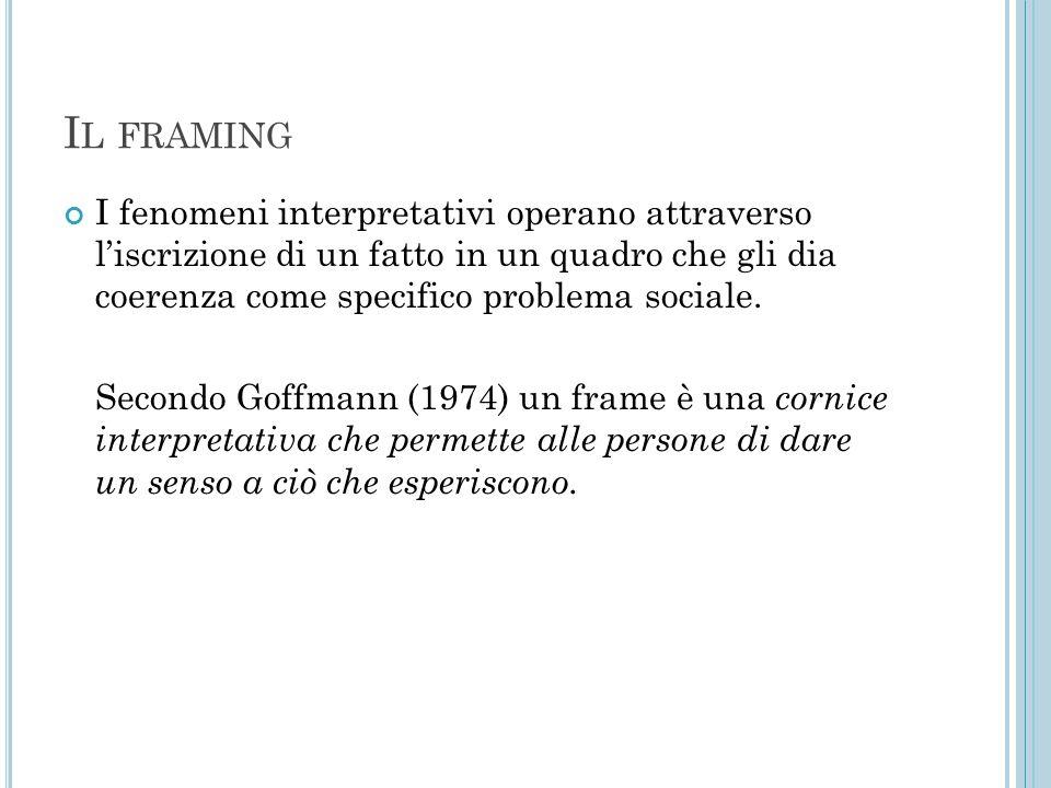 Il framing I fenomeni interpretativi operano attraverso l'iscrizione di un fatto in un quadro che gli dia coerenza come specifico problema sociale.