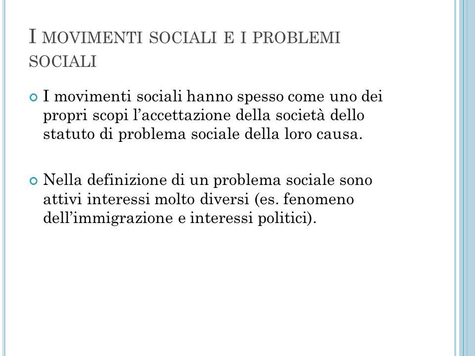 I movimenti sociali e i problemi sociali