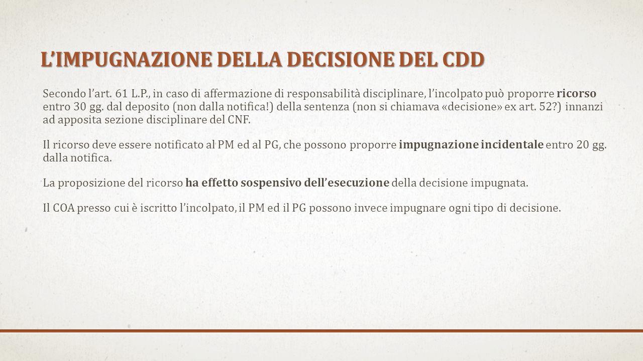 L'IMPUGNAZIONE DELLA DECISIONE DEL CDD