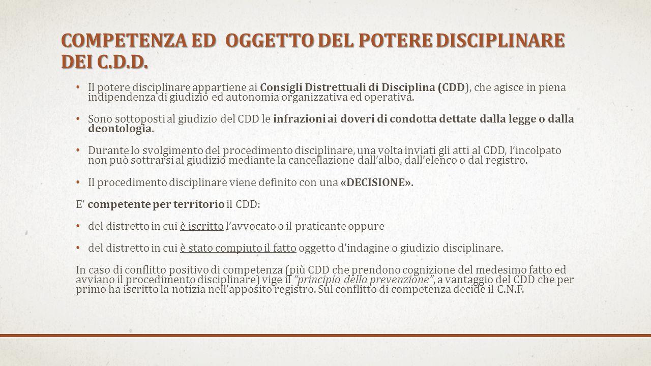 COMPETENZA ED OGGETTO DEL POTERE DISCIPLINARE DEI C.D.D.