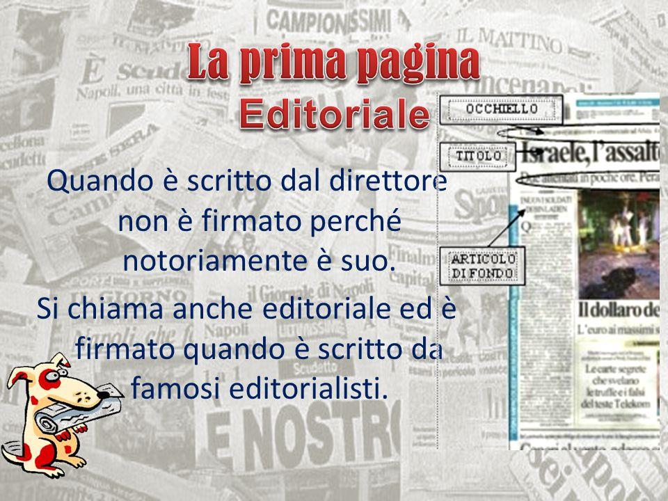 La prima pagina Editoriale