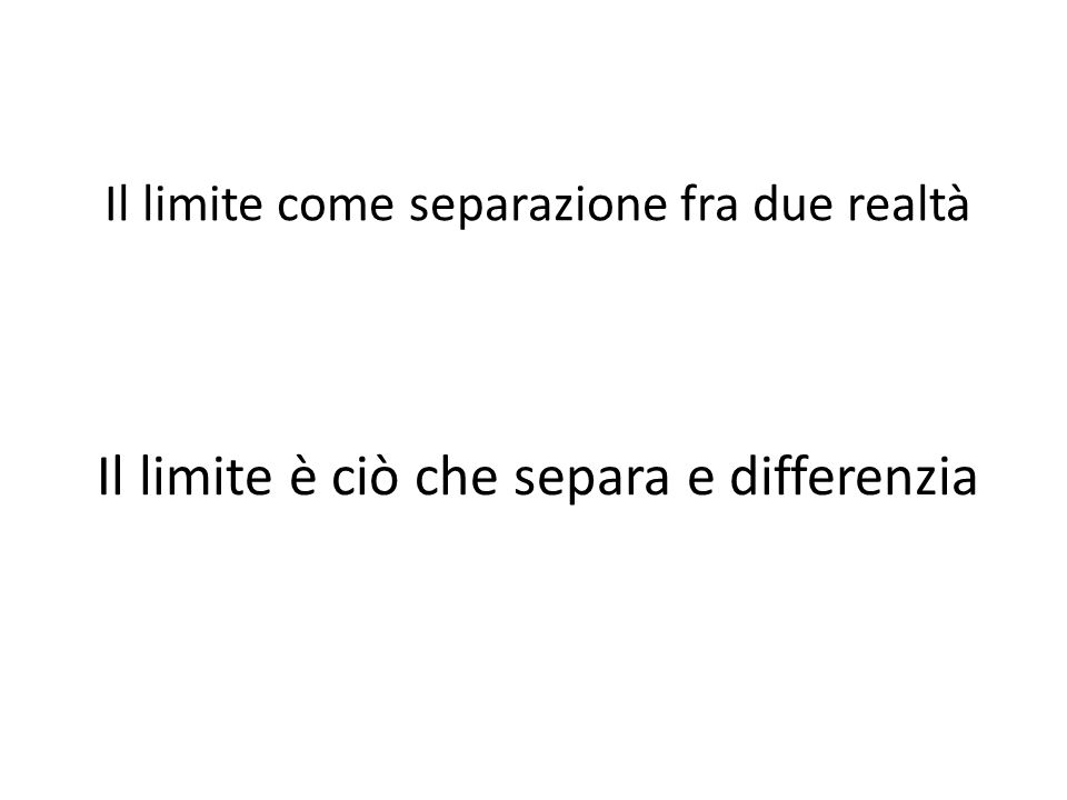 Il limite come separazione fra due realtà