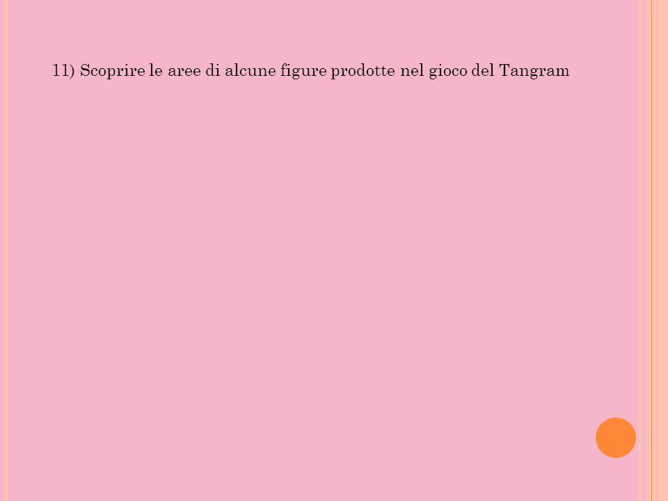 11) Scoprire le aree di alcune figure prodotte nel gioco del Tangram