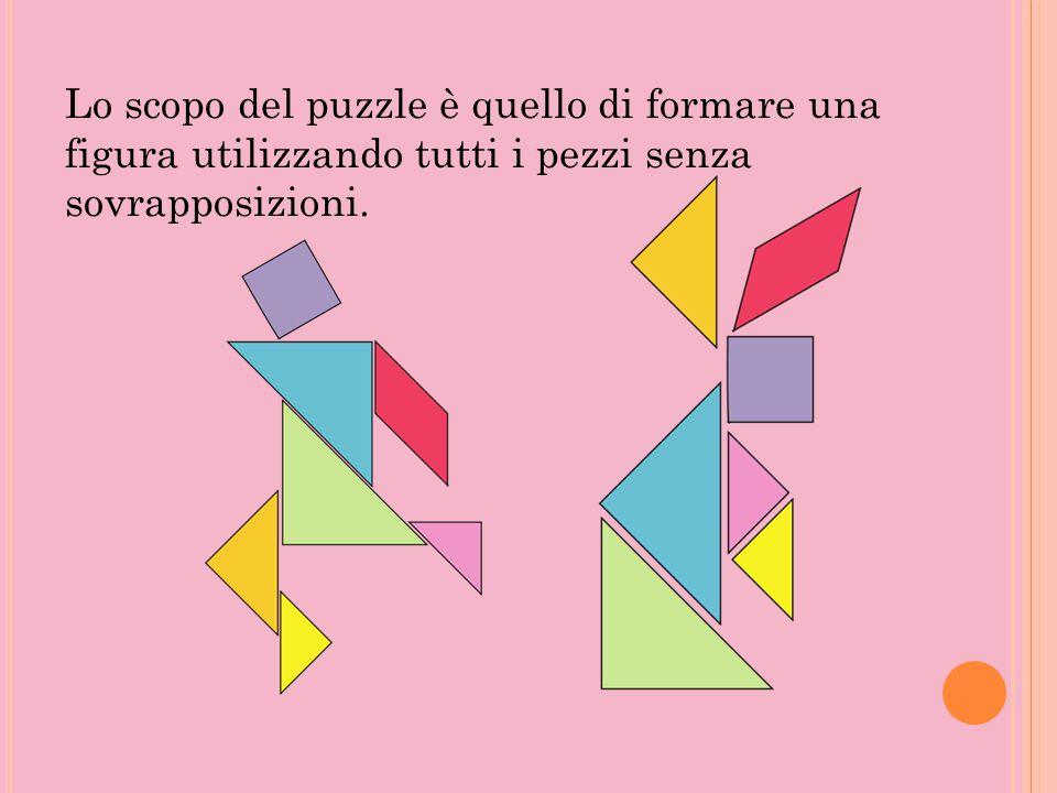 Lo scopo del puzzle è quello di formare una figura utilizzando tutti i pezzi senza sovrapposizioni.