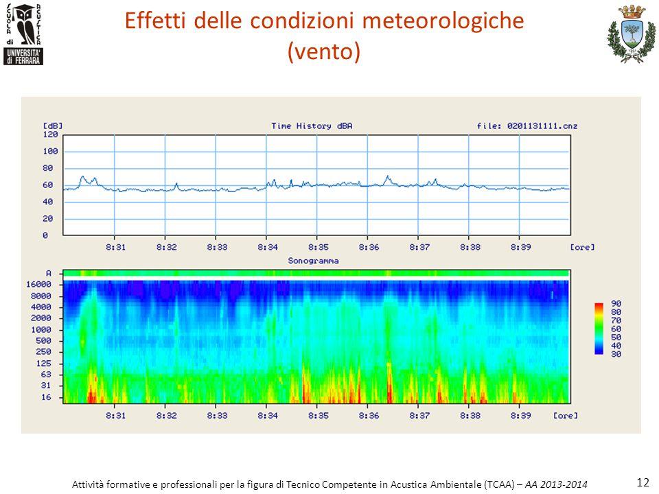 Effetti delle condizioni meteorologiche (vento)