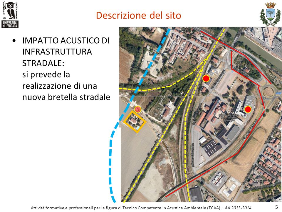Descrizione del sito IMPATTO ACUSTICO DI INFRASTRUTTURA STRADALE: si prevede la realizzazione di una nuova bretella stradale.