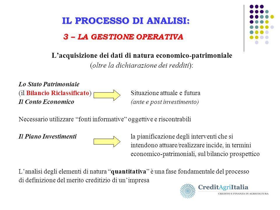 L'acquisizione dei dati di natura economico-patrimoniale