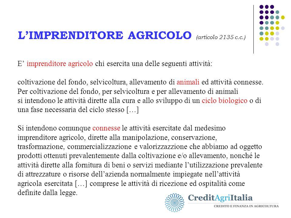 L'IMPRENDITORE AGRICOLO (articolo 2135 c.c.)