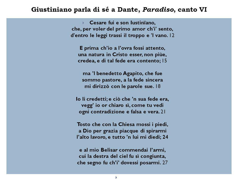 Giustiniano parla di sé a Dante, Paradiso, canto VI