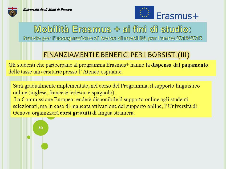 FINANZIAMENTI E BENEFICI PER I BORSISTI (III)