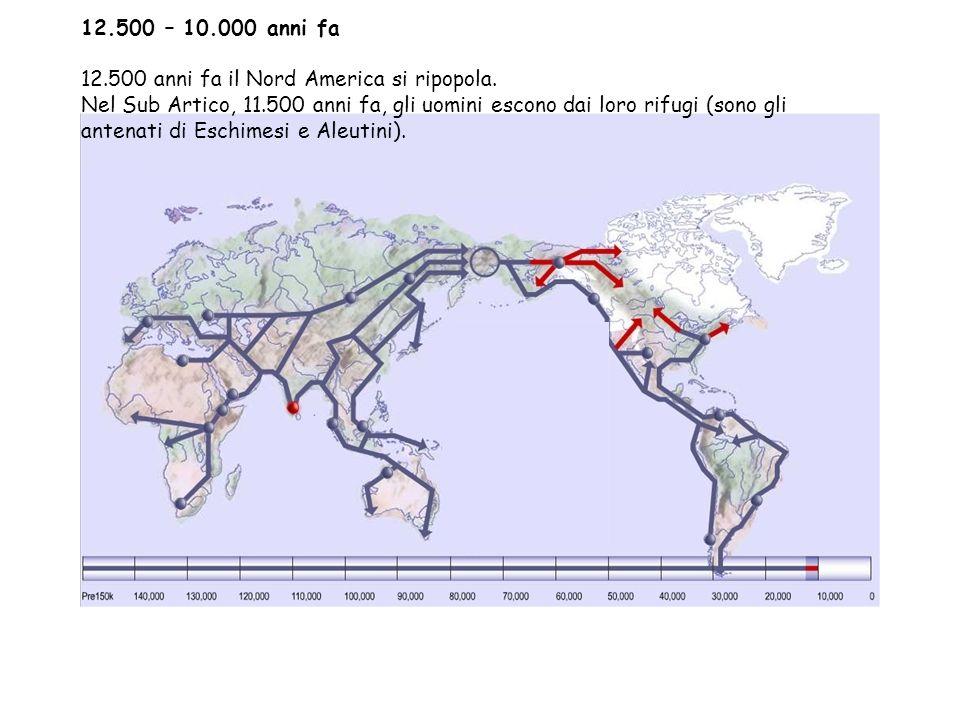 12.500 – 10.000 anni fa 12.500 anni fa il Nord America si ripopola.