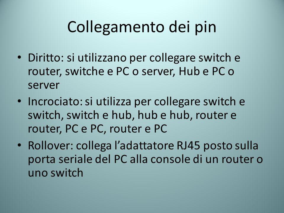 Collegamento dei pin Diritto: si utilizzano per collegare switch e router, switche e PC o server, Hub e PC o server.