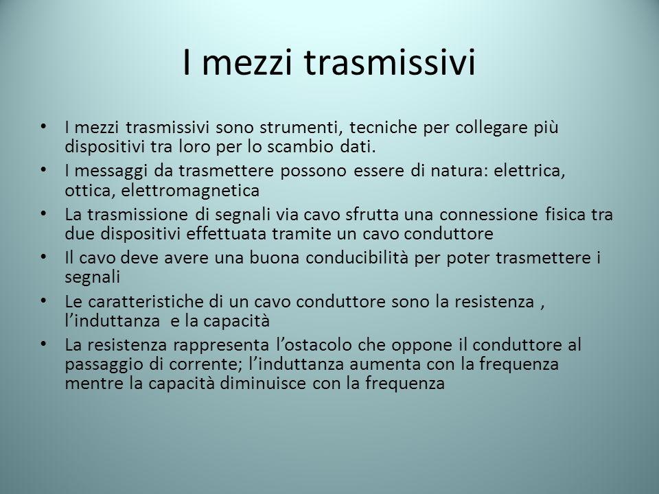 I mezzi trasmissivi I mezzi trasmissivi sono strumenti, tecniche per collegare più dispositivi tra loro per lo scambio dati.
