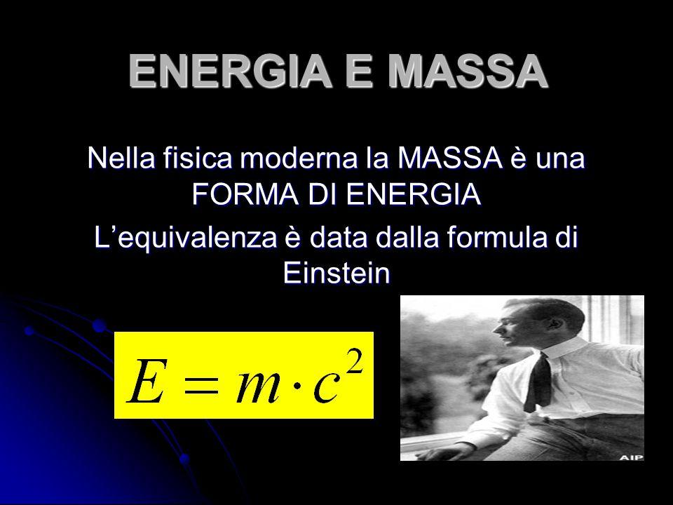 ENERGIA E MASSA Nella fisica moderna la MASSA è una FORMA DI ENERGIA