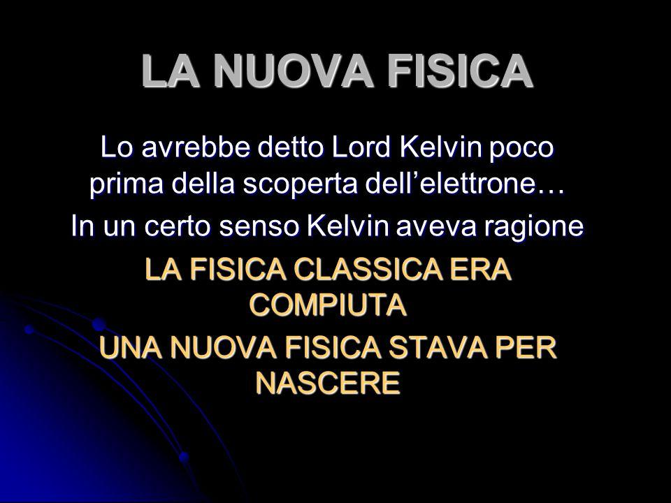 LA NUOVA FISICA Lo avrebbe detto Lord Kelvin poco prima della scoperta dell'elettrone… In un certo senso Kelvin aveva ragione.