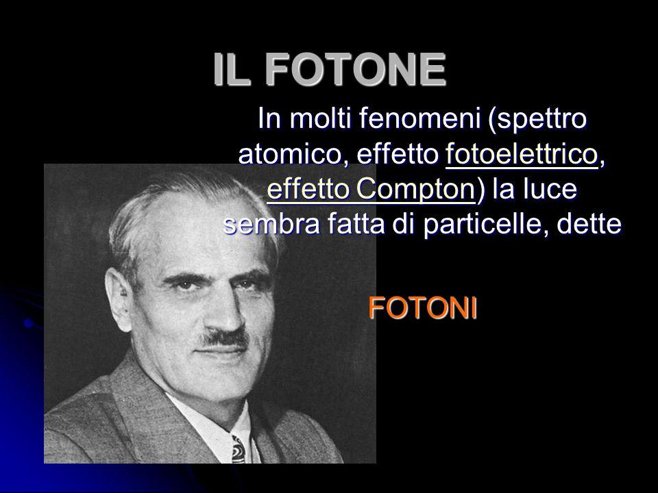 IL FOTONE In molti fenomeni (spettro atomico, effetto fotoelettrico, effetto Compton) la luce sembra fatta di particelle, dette.