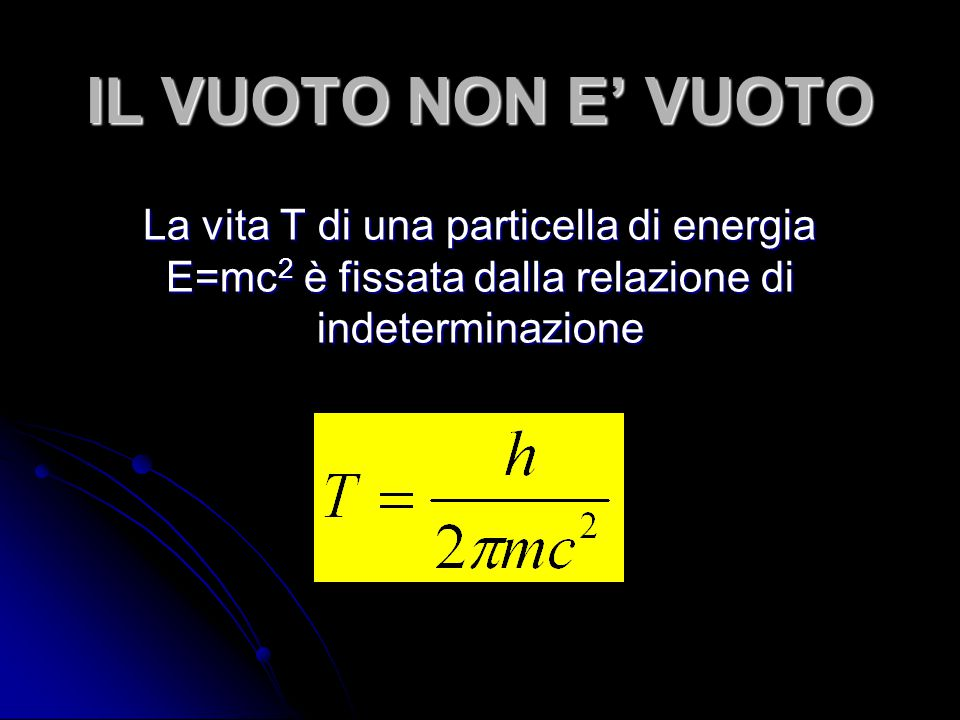 IL VUOTO NON E' VUOTO La vita T di una particella di energia E=mc2 è fissata dalla relazione di indeterminazione.