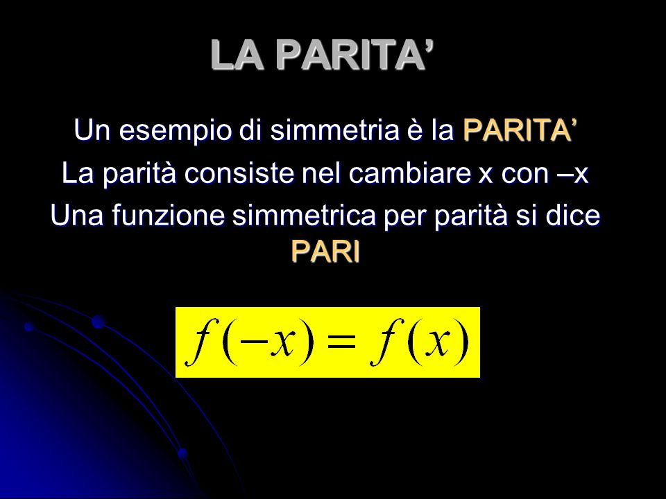 LA PARITA' Un esempio di simmetria è la PARITA'