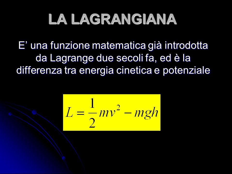 LA LAGRANGIANA E' una funzione matematica già introdotta da Lagrange due secoli fa, ed è la differenza tra energia cinetica e potenziale.