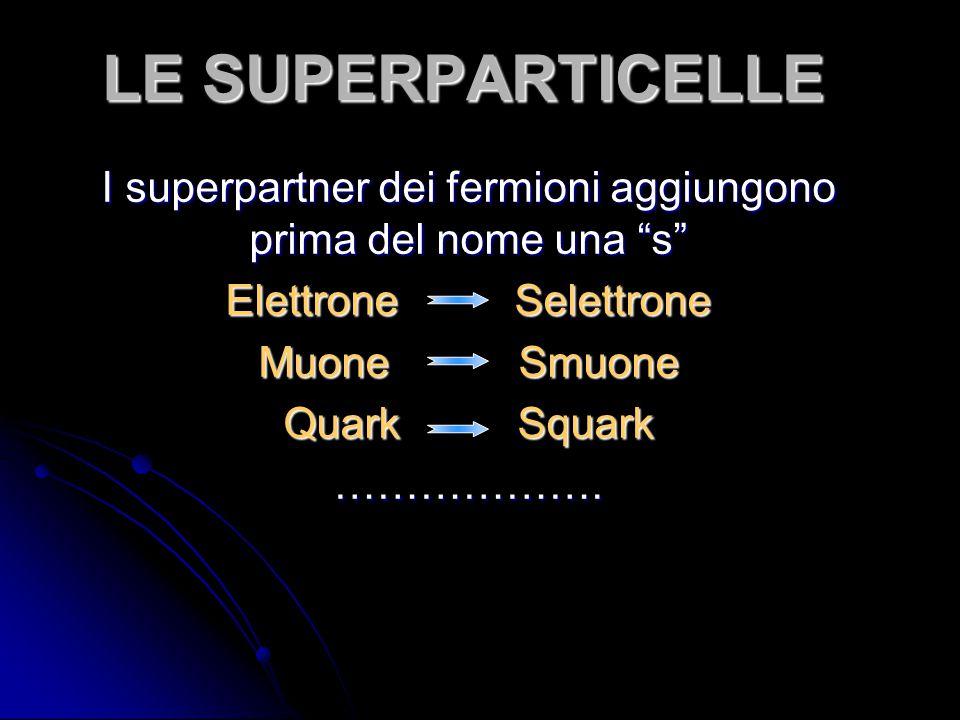 I superpartner dei fermioni aggiungono prima del nome una s