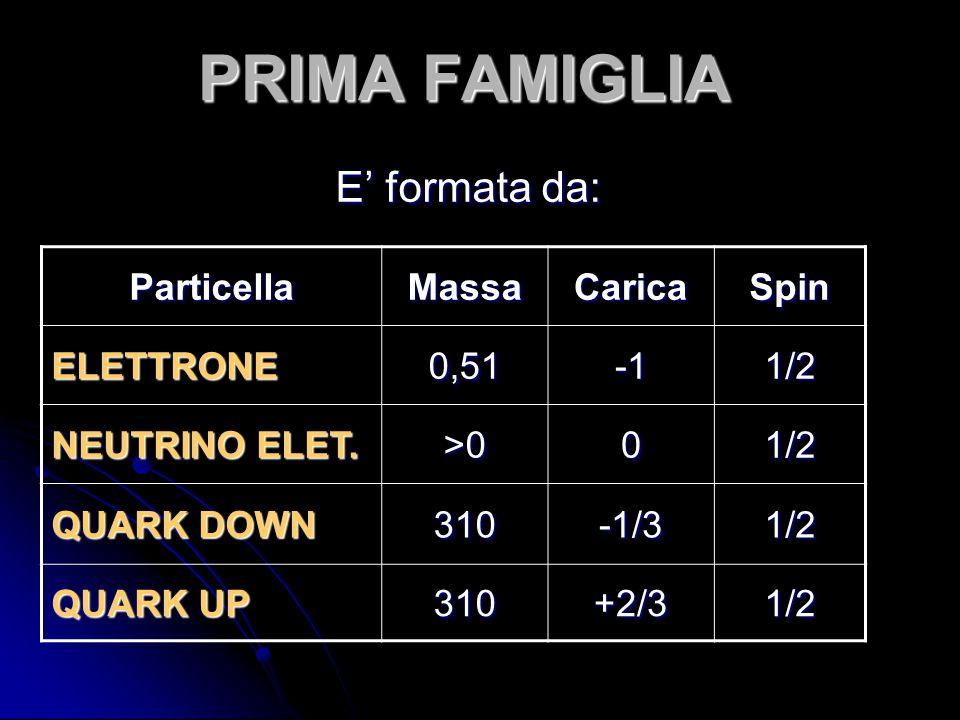 PRIMA FAMIGLIA E' formata da: Particella Massa Carica Spin ELETTRONE