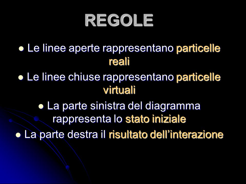 REGOLE Le linee aperte rappresentano particelle reali