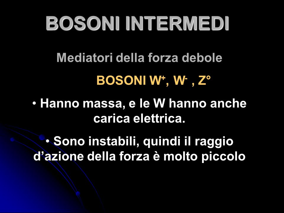 BOSONI INTERMEDI Mediatori della forza debole BOSONI W+, W- , Z°