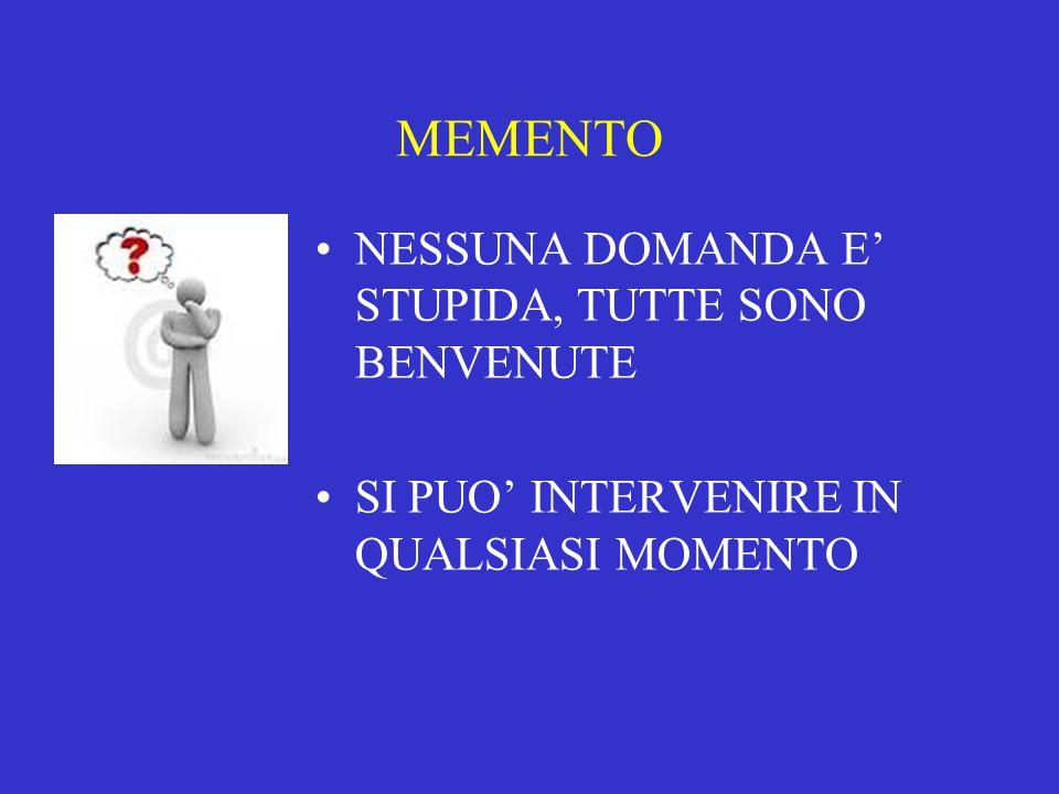MEMENTO NESSUNA DOMANDA E' STUPIDA, TUTTE SONO BENVENUTE