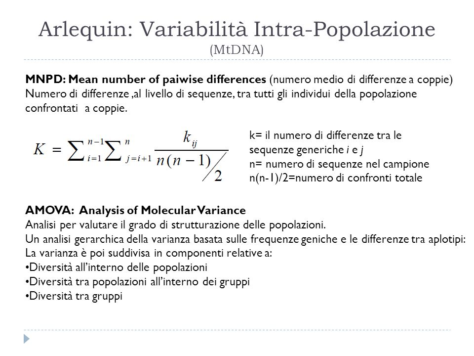 Arlequin: Variabilità Intra-Popolazione (MtDNA)