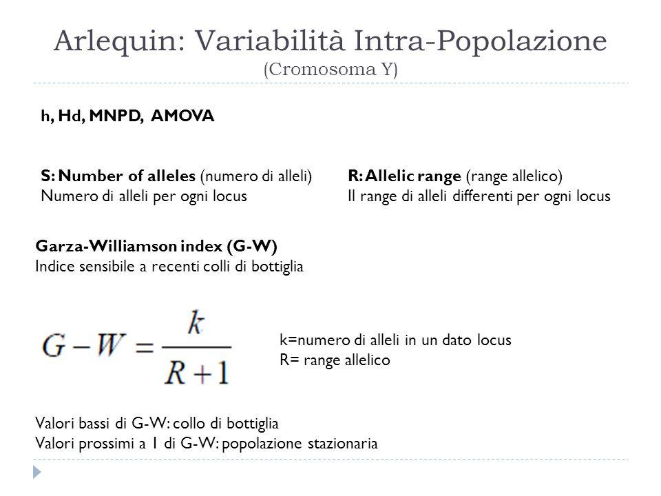 Arlequin: Variabilità Intra-Popolazione (Cromosoma Y)