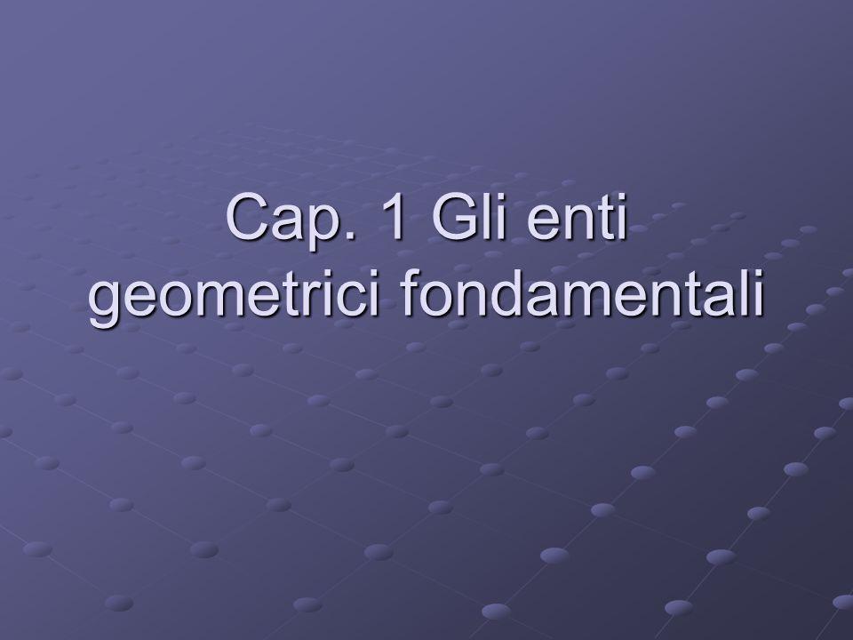 Cap. 1 Gli enti geometrici fondamentali